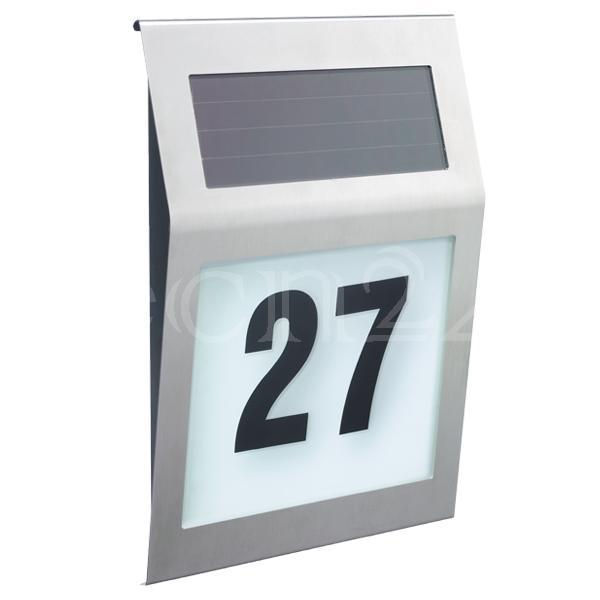 solar hausnummernleuchte hausnummer leuchte edelstahl ebay. Black Bedroom Furniture Sets. Home Design Ideas