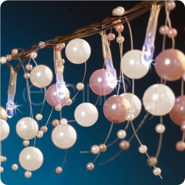 Led Lichterkette Mit Perlen Als Tischdeko 1 5m Lang Ebay