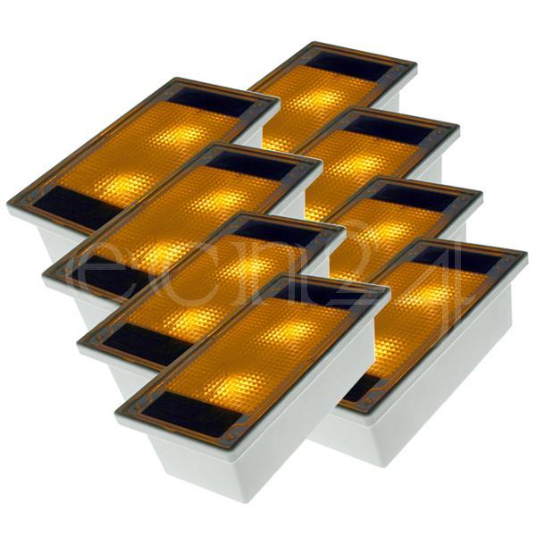 solar pflastersteine 8er set gelbe led pflasterstein. Black Bedroom Furniture Sets. Home Design Ideas