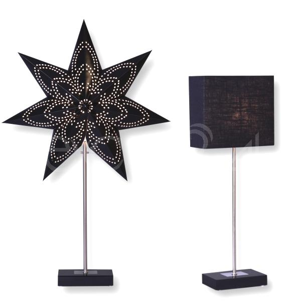 tischleuchte kombi mit lampenschirm und stern dekobeleuchtung ebay. Black Bedroom Furniture Sets. Home Design Ideas