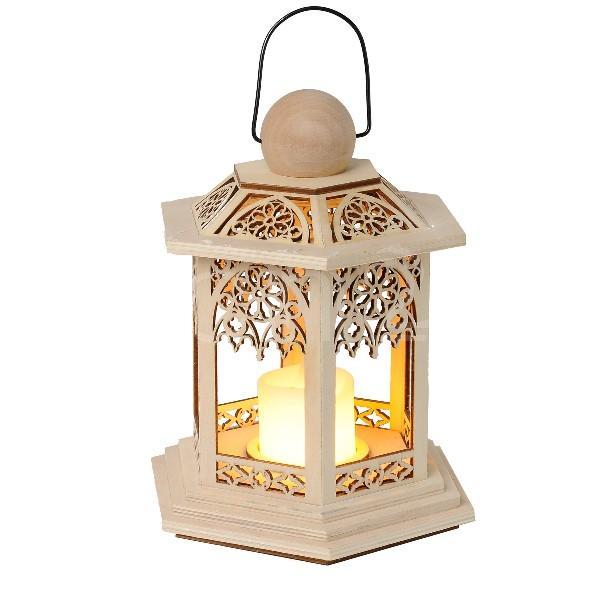 Lanterne en bois avec bougie led blanche et scintillante for Lanterne avec bougie exterieur