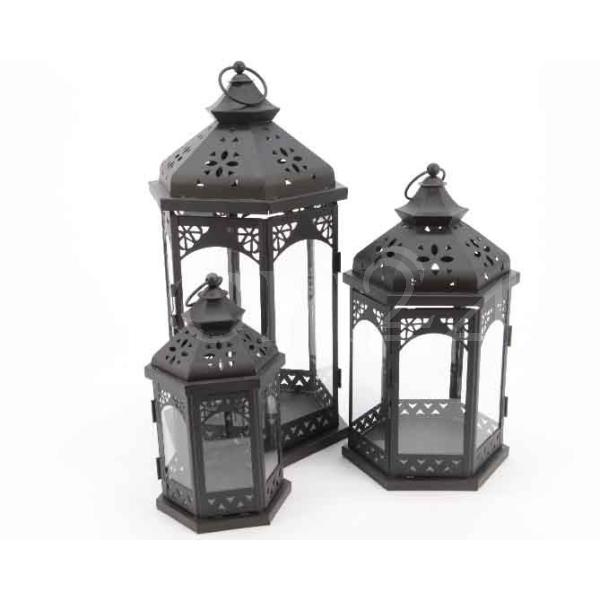 Laterne 3er set orient als windlicht mit echtglas for Windlicht outdoor