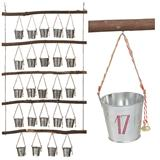 Rustic advent calendar of wood with 24 buckets