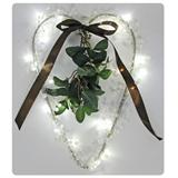 Heart with beads and mistletoe, 24 warm white LED