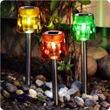 3 LED solar lights (set), multicoloured lampshade