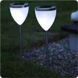 2 LED solar lights (set) made of stainless steel
