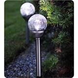 2 LED solar lights (set) with glass spheres