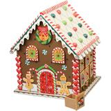 Multicoloured advent calendar house made of wood