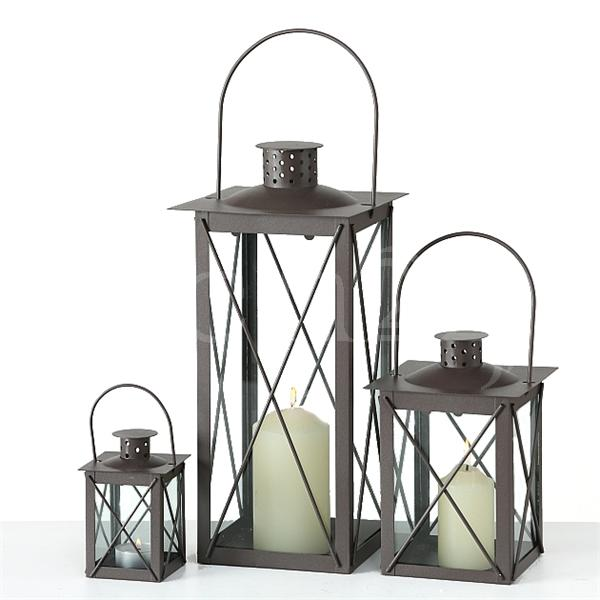 laterne farol 3er set als windlicht mit echtglas. Black Bedroom Furniture Sets. Home Design Ideas